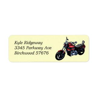赤いオートバイの差出人住所ラベル ラベル