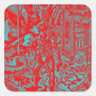 赤いカウボーイのステッカー スクエアシール