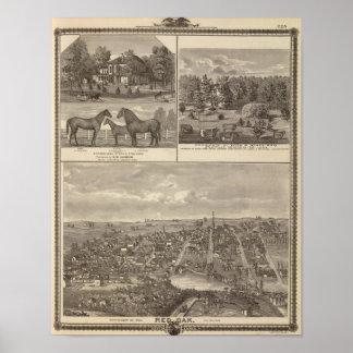 赤いカシの農場及び住宅、中心TP プリント