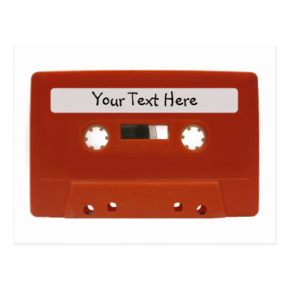 赤いカセットテープのカスタマイズ可能な郵便はがき ポストカード