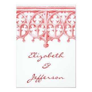 赤いカテドラルの結婚式招待状は上がりました カード