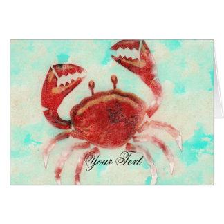赤いカニのエレガントなビーチの婚約は感謝していしています カード