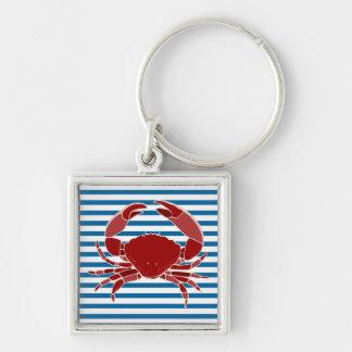 赤いカニの青および白い横のストライプ キーホルダー