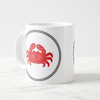 赤いカニ-魚の車海老のカニのコレクション ジャンボコーヒーマグカップ