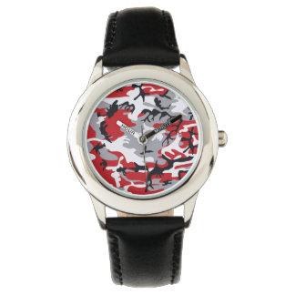 赤いカムフラージュ 腕時計
