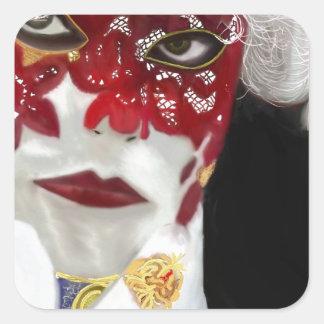 赤いカーニバルのレースのマスク スクエアシール