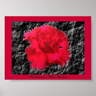 赤いカーネーションの花のファンタジーのプリント ポスター