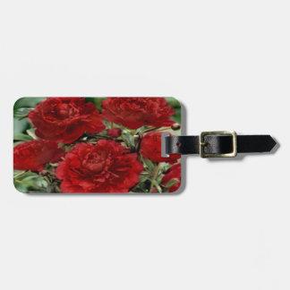 赤いカーネーションの花の荷物のラベル ラゲッジタグ