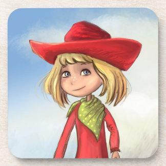 赤いカーボーイ・ハットのコルクのコースターを持つ漫画の女の子 コースター