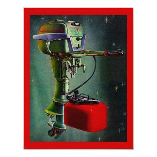 赤いガスタンクの休暇の招待状が付いているレトロの船外モーター カード