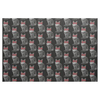 赤いガラスを持つ白黒猫 ファブリック