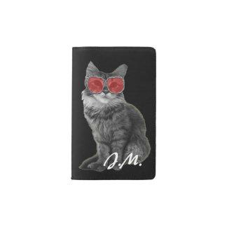 赤いガラスを持つ白黒猫 ポケットMoleskineノートブック