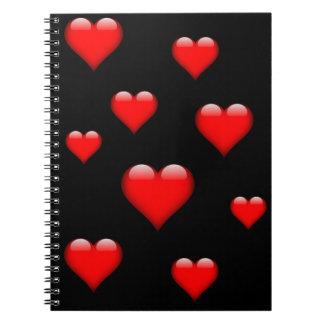 赤いガラスハートはカスタマイズ可能タイルを張りました ノートブック