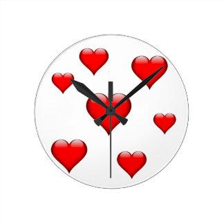 赤いガラスハートはカスタマイズ可能タイルを張りました ラウンド壁時計