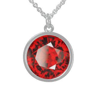 赤いガーネット宝石用原石1月Birthstone スターリングシルバーネックレス