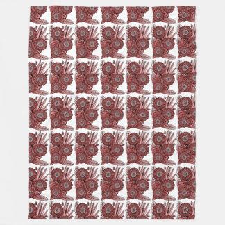 赤いガーベラのデイジーの花の花束 フリースブランケット