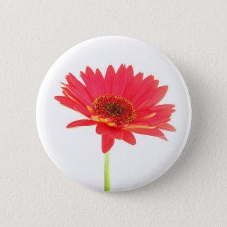 赤いガーベラのデイジーの花柄ボタン 5.7CM 丸型バッジ