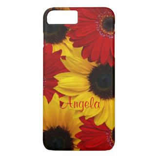 赤いガーベラのデイジーの黄色のヒマワリのiPhone6ケース iPhone 7 Plusケース