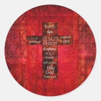 赤いキリスト教の十字のコンテンポラリーな宗教芸術 ラウンドシール
