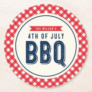 赤いギンガムおよび青い7月4日BBQ ラウンドペーパーコースター