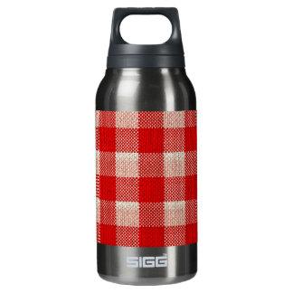 赤いギンガムによって市松模様にされるパターンバーラップの一見 断熱ウォーターボトル