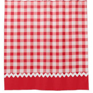 赤いギンガムのシャワー・カーテン シャワーカーテン