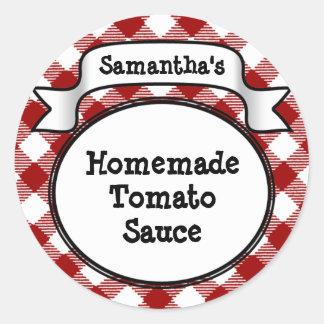 赤いギンガムのトマトソースまたはレシピの瓶またはふたのラベル ラウンドシール