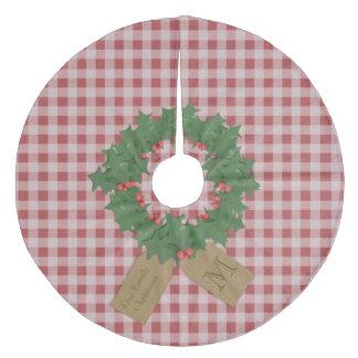 赤いギンガムのヒイラギのモノグラムのクリスマスツリーのスカート フリース ツリースカート