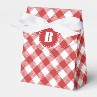 赤いギンガムチェック模様のパターン好意箱 フェイバーボックス
