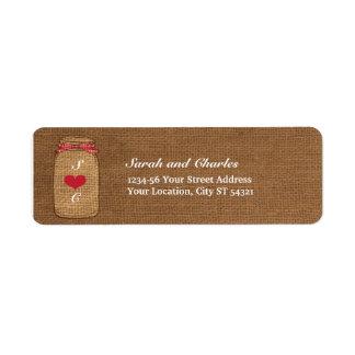 赤いギンガム及びバーラップのメーソンジャーの差出人住所 ラベル