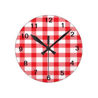 赤いギンガム ラウンド壁時計