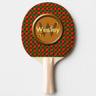 赤いクリスマスおよびカスタムなモノグラムが付いている緑パターン 卓球ラケット