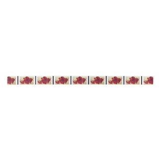 赤いクリスマスのアマリリスのサテンリボン サテンリボン