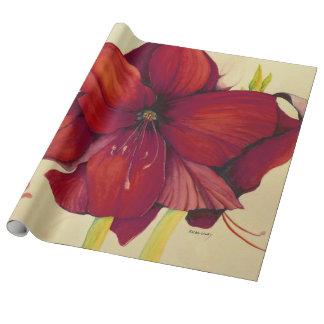 赤いクリスマスのアマリリスのリネン包装紙 ラッピングペーパー