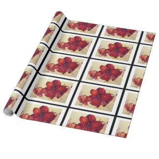 赤いクリスマスのアマリリスはリネン包装紙をタイルを張りました ラッピングペーパー