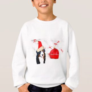 赤いクリスマスのオーナメントを持つバーニーズ・マウンテン・ドッグ スウェットシャツ