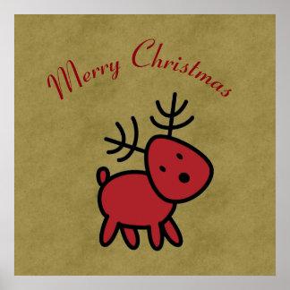赤いクリスマスのトナカイのイラストレーション ポスター