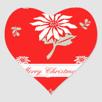赤いクリスマスのポインセチア ハートシール