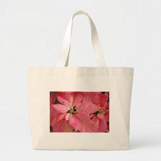 赤いクリスマスのポインセチア ラージトートバッグ