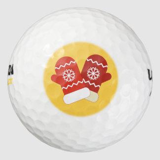 赤いクリスマスのミトンのゴルフ・ボール ゴルフボール