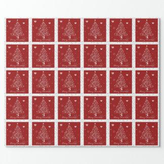 赤いクリスマスの包装紙 ラッピングペーパー