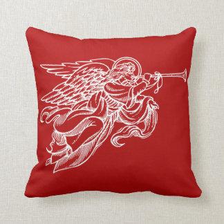 赤いクリスマスの枕の天使のヴィンテージの引くこと クッション