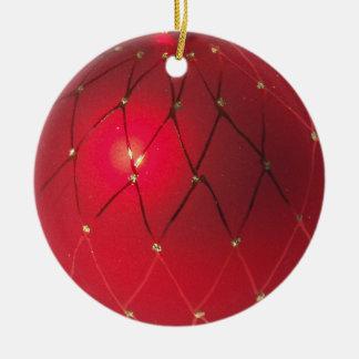 赤いクリスマスの球のオーナメント セラミックオーナメント