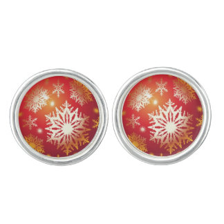 赤いクリスマスの球のカフスボタン カフブローチ