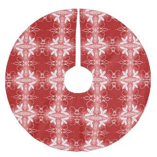 赤いクリスマスの装飾的なオーナメントの抽象芸術パターン ブラッシュドポリエステルツリースカート