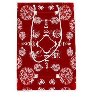 赤いクリスマスの装飾的なオーナメントの抽象芸術パターン ミディアムペーパーバッグ