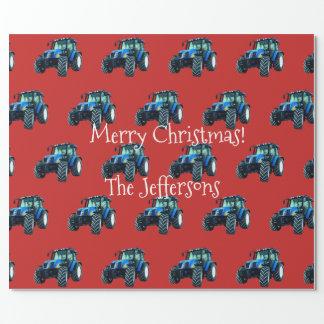 赤いクリスマスの青い農場トラクター ラッピングペーパー