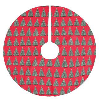 赤いクリスマスツリーのスカートのクリスマスツリーパターン ブラッシュドポリエステルツリースカート
