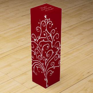 赤いクリスマスツリーの冬の結婚式 ワイン ギフトボックス