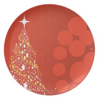 赤いクリスマスツリーの背景 プレート